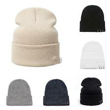 AU_ Fashion Unisex Metal Ring Knitted Beanie Hats Winter Warm Solid Color Skull