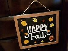 "Pumpkin and Fall Leaves Wood ""Happy Fall"" Wall or Door Hanging Decor 12"" x 10"""