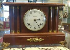 Antique USA WATERBURY CLOCK COMPANY Shelf Mantle Clock & KEY Working Condition!!