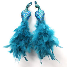11 inch TURQUOISE Feather/Glitter Peacock Bird, Handmade, Clip-on, Set of 2
