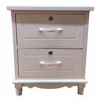 White Bedside Wooden 2 Drawer Bedside Cabinet Nightstand Table Storage Unit