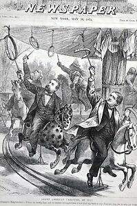 Tilden Merry Go Round 1875 TAMMANY POST OFFICE WHISKEY Matted Keppler Cartoon