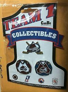 LOT (3) Vintage Metal Pins - Colorado AVALANCHE Logo + Home / Away Jerseys