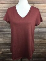 Mossimo Supply Co. Women's Burgundy Short Sleeve V-Neck T-Shirt XS NEW