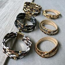 Genuine Leather Leopard Print Bracelet Women Magnetic Cuff Button Wrap Jewellery