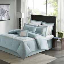 Beautiful Grey Aqua Border Fretwork Embroidered Cal King Queen 8 pcs Bedding Set