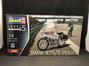 Revell BMW R75/5 Police Motorcycle 1:8 Scale Plastic Model Kit 07940 NIB