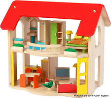 VOILA TOY wooden 2 LEVEL ECO-FRIENDLY DOLLS HOUSE + 6 ROOMS FURNITURE Brand NEW