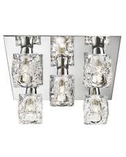 Searchlight Cool Ice Chrome & Clear Glass Modern Flush Ceiling Light