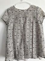 Lauren Conrad LC Floral Lace Women's Top Shirt Blouse Short Sleeve Beige Small