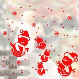 Waterproof Snowman Sticker Wall Art Kid Shop Show Window Christmas Decor Decal