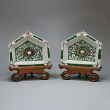 Antique Pair of Chinese famille verte biscuit hors d'oeuvre dishes, Kangxi