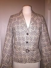 Women's Medium •Brandon Thomas Sexy Leather >Animal Print Jacket Lined NEW