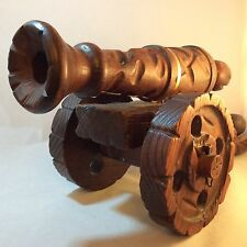 """Giant Vintage Carved Wooden Cannon - Working Wheels - Spanish Gothic: 19.5"""" long"""
