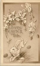 Original Vintage 1910s-20s Easter PC- Eggs- Bunny- Rabbit- Happy Easter Tide