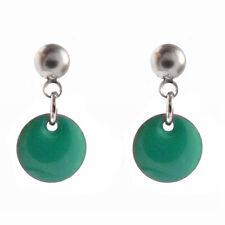 boucles d'oreilles puces acier inox disque émail vert turquoise - atelier FRANCE