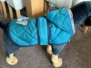 *SMALL* Waterproof Dog Coat Polycotton Lined handmade length 33cm  by Maisie-Moo