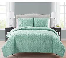 Coastal Quilt Set King Size Mint Green 3 Piece Bedding Shams Coverlet