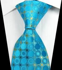 New Classic Patterns Light Blue Gold JACQUARD WOVEN 100% Silk Men's Tie Necktie