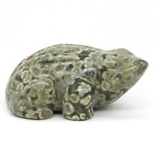 """2.8"""" Frog Statue Natural Green Rainforest Jasper Crystal Carved Animal Crafts #1"""