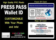 Press Pass Wallet ID Card / Badge (CUSTOMIZABLE) Freelance - HOLOGRAPHIC - PVC