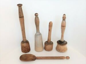 4 Antique Vintage Wooden Potato Mashes / Pounders