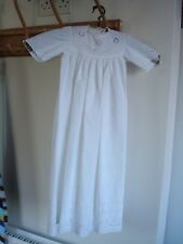 ANTIQUE COTTON CHRISTENING GOWN WITH LACE NECK BRODERIE ANGLAISE AND PINK RIBBON