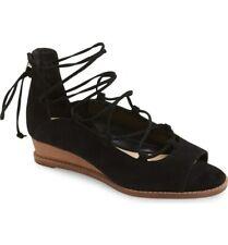 Vince Camuto Rochela Black Suede Tie Up Open Toe Wedge Sandal