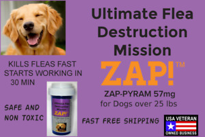 ZAP! Instant Flea Control Killer 50 Capsules 57mg Large Dogs >25lb Free Shipping