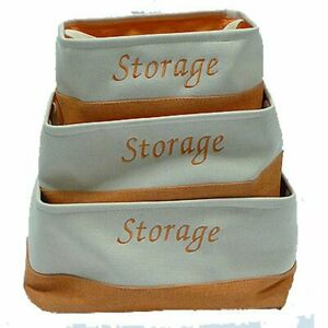Canvas Fabric Storage Basket Laundry Toy Bag Tubs New