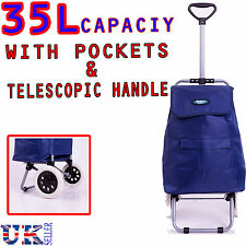 New EAGLE 35L 2 WHEELED HARD WEARING SHOPPING TROLLEY CART BAG WITH POCKET BLUE