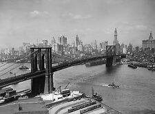 "1920 Photo of Brooklyn Bridge, antique view, NEW YORK, 16""x11"""
