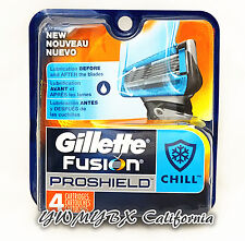 Gillette Fusion PROSHIELD CHILL Refill 4 Cartridges*Original Package* #010