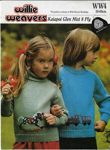 Child Rocking Horse Train Sweaters Willie Weavers knitting pattern DK 8 ply yarn