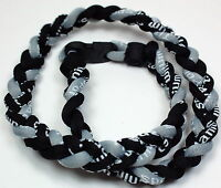 "Kids 18"" 3 Rope Twisted Titanium Sport Necklace Black Gray Tornado Baseball"