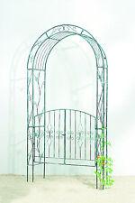 Rosenbogen mit Tor - Türen * Pergola * Metall  B131xT38xH245cm, schwarz-grün