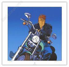 Affiche Serigraphie BD FRANCQ Largo Winch Harley Davidson 300ex-s 50x50