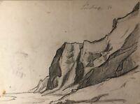 Bleistift Zeichnung Küste Ufer Ostsee 1886 Skizze Studie 19. Jahrhundert