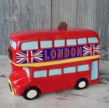 Spardose Bus London rot Keramik Reise Doppelstockbus England Sparschwein Urlaub