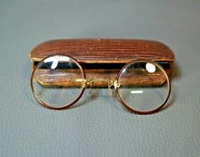 1900s Antique Pince-Nez Eyeglasses Spectacles Spring Clip Round Lenses w/Case