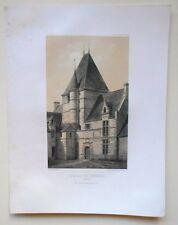 Lithographie originale de Victor Petit - Château de Cramesnil - Calvados
