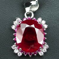 LUXURIOUS PIGEON BLOOD RED RUBY MAIN STONE 17 CT. SAPPHIRE 925 SILVER PENDANT