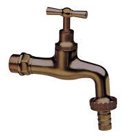 rubinetto con portagomma 1/2 in ottone anticato per fontana esterno giardino