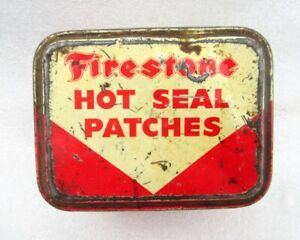 Vintage Rare Original Old Collectible Firestone Hot Seal Patchs Ad Litho Tin Box