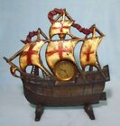 Vintage Cast Iron Ship Boat Windup Mantel Clock White Sails with Red Crosses