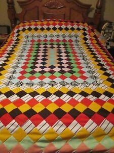 "VINTAGE HANDMADE polyester quilt handmade 92"" x 95"" blocks bright colors"