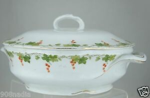 ANTIQUE SOUP/VEGETABLE BOWL TUREEN,WHITE,GOLD,GREEN GRAPEVINE GARLAND