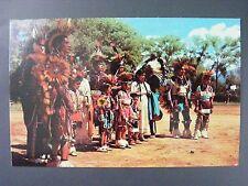 Indian Dance Group Children Full Dress Drum Color Chrome Vintage Postcard 1950s