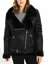 Women`s Faux Fur Sheepskin Aviator Jacket Coat UK Size 14 - NEW