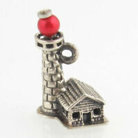 Lighthouse Charm - Sterling Silver Ocean Sea Nautical Red Bead